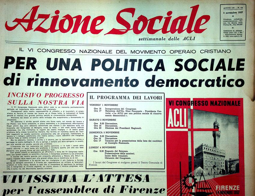 Prima pagina di Azione Sociale n.44, 3 novembre 1957